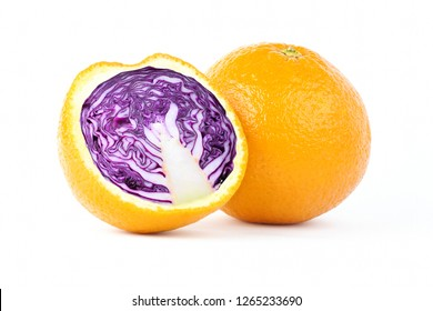 Creative photo manipulation of sliced orange with red cabbage inside isolated on white background