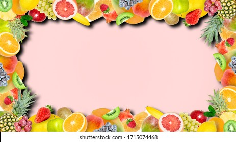 Creative photo of many different exotic tropical bright fruits frame with shadows on a summer soft pink color background. View from above. Bright summer fruit pattern with copy space.