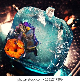 Creative Photography of an icecube. Flowers.