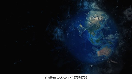 Creative Planet Earth's Global Artwork - Cosmos, Universe, Galaxies - India, Asia & Australia (Elements of this image furnished by NASA)