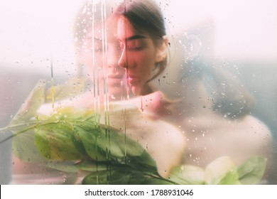 Creative portrait. Spa therapy. Sensual woman face blur silhouette with green leaves behind steamed glass with rain drops double exposure effect. Skin care. Beauty wellness.