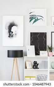 Creative posters on the wall and black lamp standing next to a white shelf with decorations in bright room interior