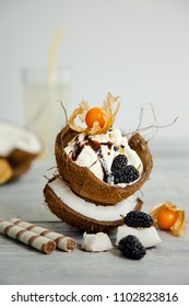 creative presentation of ice cream in coconut shell, decorated with mulberry and physalis berries on a grey background