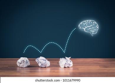 Creative process concept - from failed idea to successful idea (problem solution). Icon of the brain representing idea.
