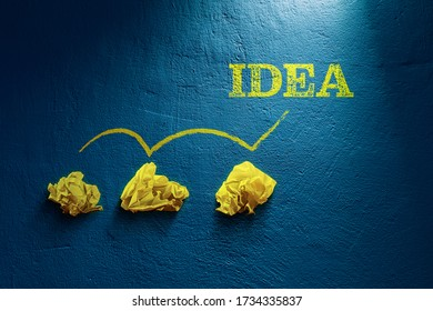 Creative process concept - from failed idea to successful idea (problem solution). Three crumpled papers and text idea.