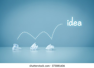 Creative process concept - from failed idea to successful idea (problem solution).
