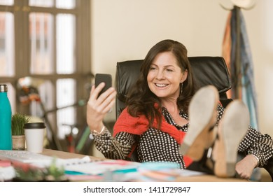 Creative professional woman in a video chat session