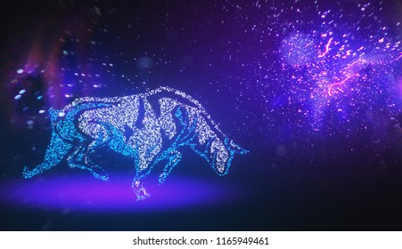 Creative purple digital bull taurus wallpaper. Constellation, finance and zodiac concept. 3D Rendering