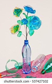 creative recycling: handmade flowers made from scraps of plastic bottles