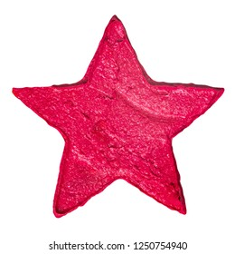 Creative red lipstick sample as a star shape isolated on a white background
