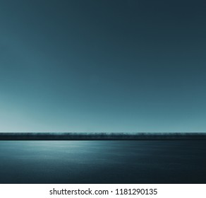 Creative road background with sun or moon light. Abstract wallpaper design concept