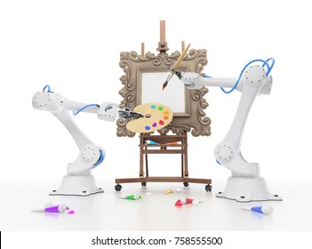 Creative Robotics. Industrial robots begins to create artistic painting. 3D-rendering graphic composition on the subject of 'Artificial Intelligence'.