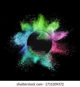 Kreativer Rundrahmen mit abstraktem, mehrfarbigem Pulverschlag oder Explosion auf weißem Hintergrund, Kopienraum.