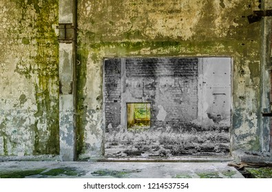 Creative scene from an abandoned industrial hall