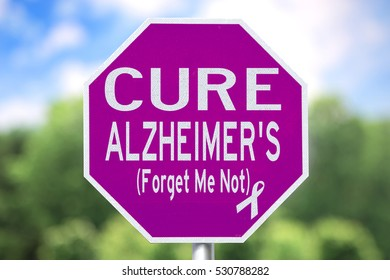 Creative Sign - Cure Alzheimer's disease, Forget Me Not and Purple Ribbon for awareness