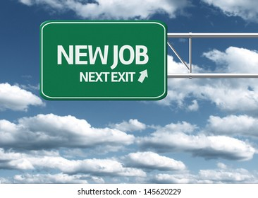 Creative sign with the message - New Job Next Exit