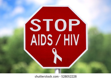 Creative Sign - Stop AIDS / HIV and Red Ribbon Symbol