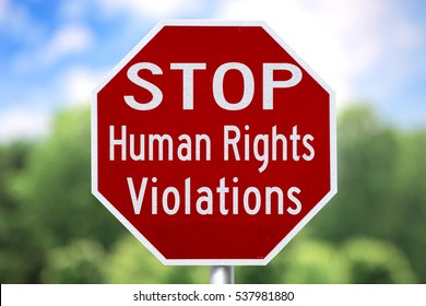 Creative Sign - Stop Human Rights Violations