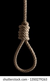 Creative social concept photo of rope noose with hangman's knot hanging in front of  black background.
