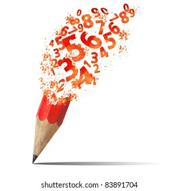 creative splash  pencil with red number isolate on white