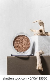 Creative still life cosmetics photography with different textures and materials. Artistic modern still life, luxury decor cosmetics collection.
