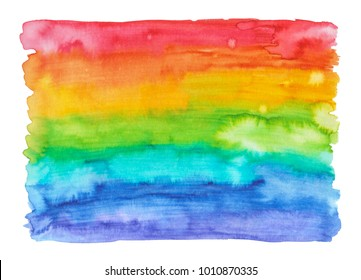 Creative striped bright texture for design. Vibrant rainbow hand painted watercolor background. Handmade overlay.