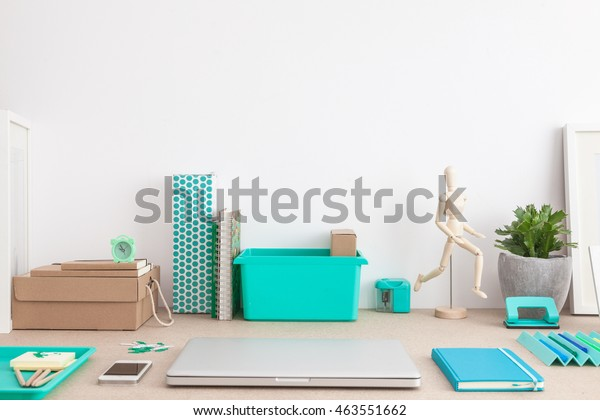 Creative student desk. Back to school concept. Office workspace. Close up.