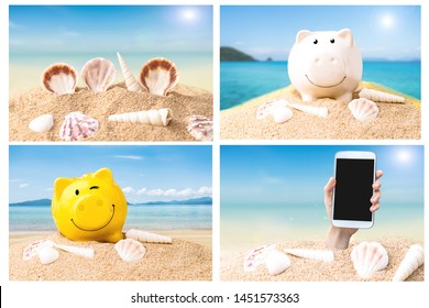 creative summer shopping image for summer sail concept with piggy bank , smart phone on summer blue sea and sky background.