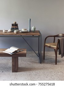 creative table together with wood and metal some objects on the table with middle wood stand