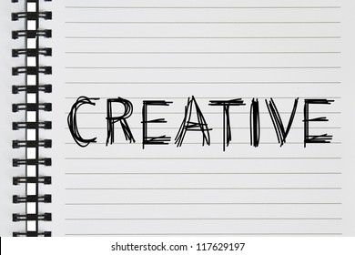 creative text on the notebook