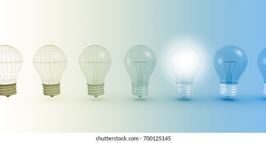Creative Thinking with Light Bulb Illuminated as Concept 3D Illustration Render