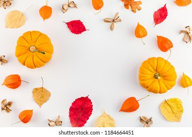 Creative Top view flat lay autumn composition. Pumpkins dried orange flowers leaves background copy space. Template frame fall harvest thanksgiving halloween anniversary invitation cards