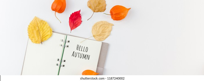 Creative Top view flat lay autumn composition. Notebook dried orange flowers leaves background copy space. notepad mockup fall harvest thanksgiving halloween invitation cards Long wide banner