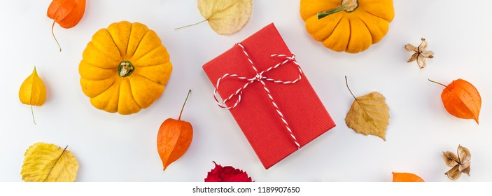 Creative Top view flat lay autumn composition. Pumpkins dried orange flowers leaves red gift box present background copy space fall harvest thanksgiving halloween invitation cards. Long wide banner