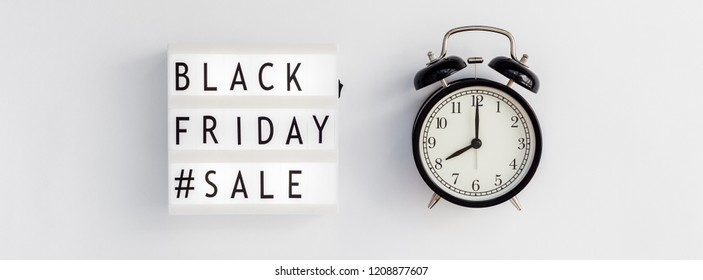 Creative Top view flat lay promotion composition Black friday sale text lightbox alarm clock white background Template Black friday sale mockup fall thanksgiving promotion advertising Long wide banner