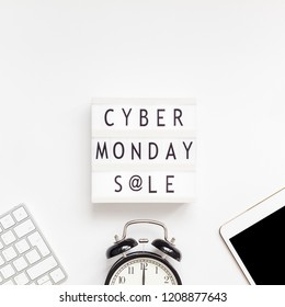 Creative Top view flat lay promotion composition Cyber Monday sale text on lightbox alarm clock white background copy space Square Template Cyber Monday sale mockup thanksgiving promotion advertising