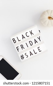 Creative Top view flat lay promotion composition Black friday sale text on lightbox white background copy space Template Black friday sale mockup fall thanksgiving promotion advertising