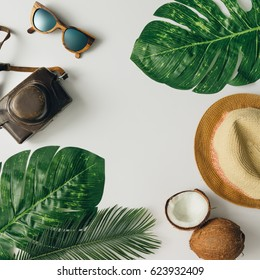 Creative  tropical summer travel layout. Flat lay.  Vacation concept.