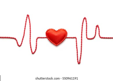 Creative valentines concept photo of  heart and pulse line on white background.