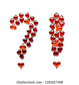 Creative valentines concept photo of question and exclamatory marks made of hearts on white background.