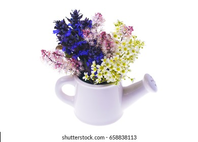 Creative vase with flowers Isolated on white background. Studio Photo