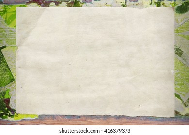 Creative vintage background. Border, layout, frame, template for presentation. Collage on a wooden board. Green. Craft paper texture