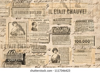 Creative vintage style background. Paper texture. Newspaper strips - Shutterstock ID 1117346423