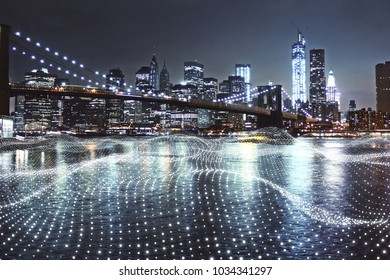 Creative waterfront night city background with polygonal wave