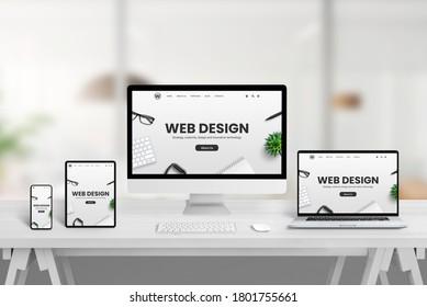 Kreativer Web Design Studio-Schreibtisch mit verschiedenen Geräten und reaktionsfähiges Webseitenkonzept auf Gerätemaschinen. Modernes Design-Konzept für flache Websites