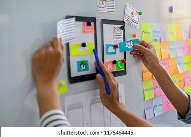 Creative Web Designer planning application and developing template layout, framework for mobile phone. User experience (UX) concept.