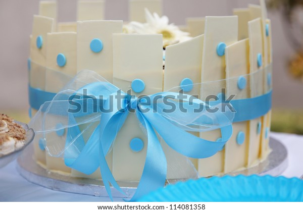 Creative White Chocolate Cake Blue Ribbon Stock Photo Edit