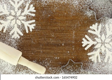 Creative winter christmas time baking food background