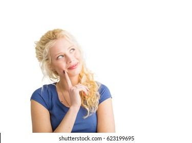 Creative woman thinking and smiling