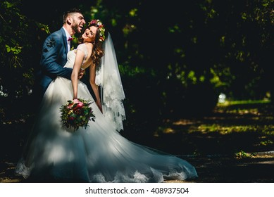 Creative young couple spends their happy wedding day